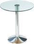 Round Glass Table with Chrome Leg – by D-Zine